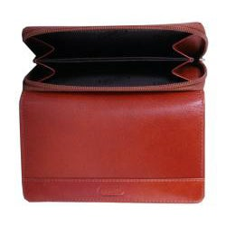 Leatherbay Women's Cognac Leather Tri-fold Wallet