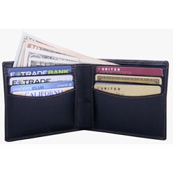 Leatherbay Men's Black Leather Bi-fold Wallet