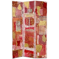 Wood and Canvas 6-foot Avant-garde Collage Room Divider (China)