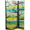 Wood and Canvas 6-foot Sylvan Collage Room Divider (China)