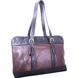 Leatherbay Commuter Black and Dark Brown Leather Laptop Tote