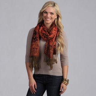 Elegant Black and Red Reversible Paisley Shawl Wrap