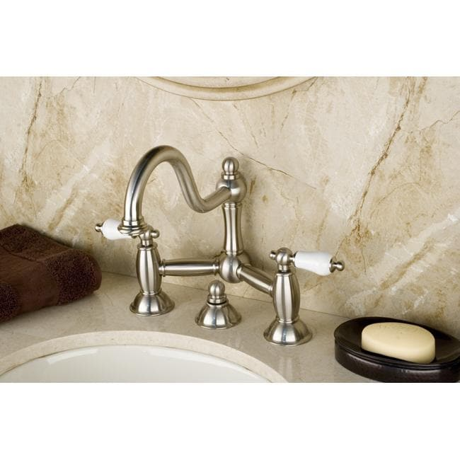 Vintage Double-Handle Satin-Nickel Widespread Bathroom Faucet ...