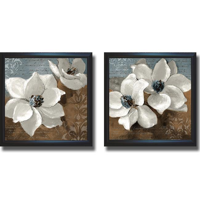 Lanie Loreth 39 White Magnolias I And II 39 Framed 2 Piece Canvas Art Set
