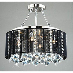 Crystal 5-light Black Shade Chrome Semi-ceiling Lamp