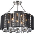 Crystal 5-light Black Shade Satin Nickel Semi-ceiling Lamp