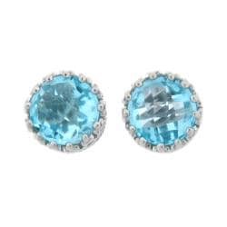 Meredith Leigh Sterling Silver Crown-set Blue Topaz Earrings