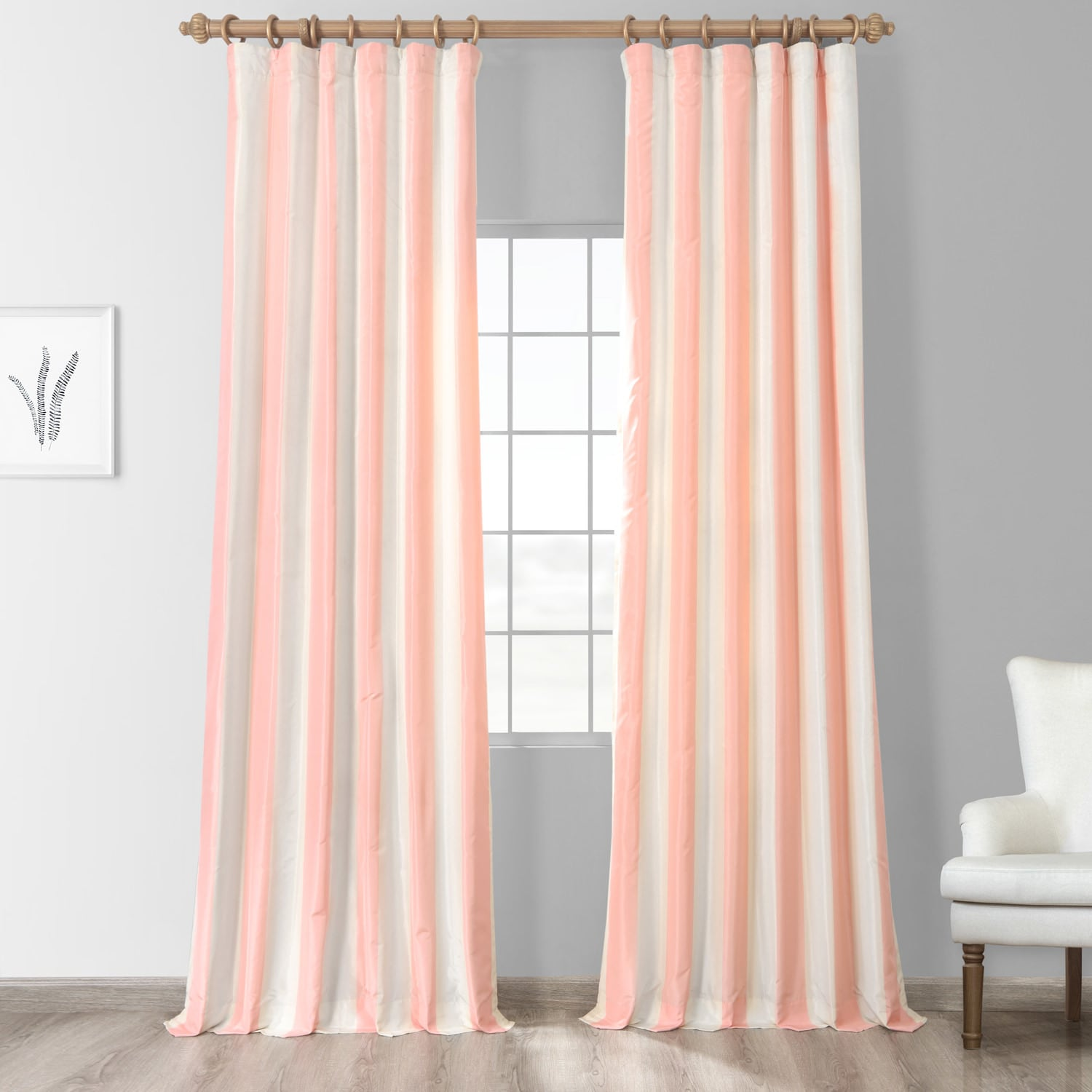 Light Peach/ Cream Stripe Faux Silk Taffeta 84-inch Curtain Panel at Sears.com