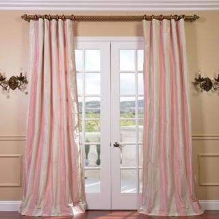 Light Pink/ Cream Stripe Faux Silk Taffeta 96-inch Curtain Panel