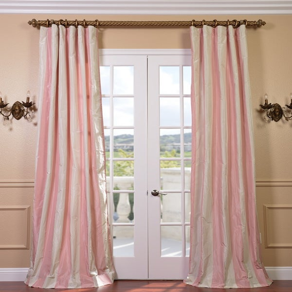Light Pink/ Cream Stripe Faux Silk Taffeta 96-inch Curtain Panel