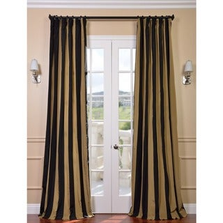 Black/ Gold Stripe Faux Silk Taffeta Curtain Panel