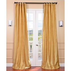 Signature Sunrise Gold 84-inch Textured Silk Curtain Panel