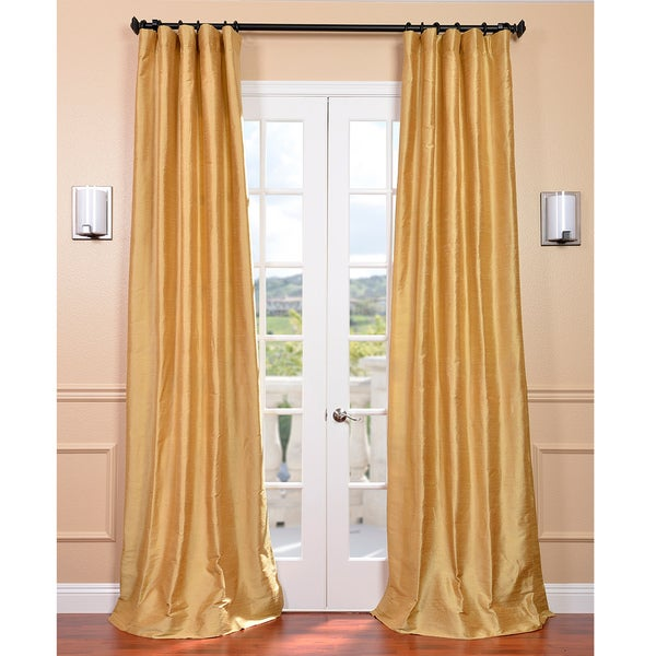 Signature Sunrise Gold 120-inch Textured Silk Curtain Panel