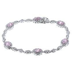 La Preciosa Sterling Silver Pink and White CZ Bracelet