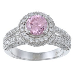 La Preciosa Sterling Silver Pink and White Cubic Zirconia Ring