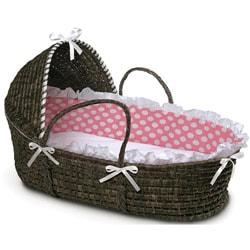 Espresso Hooded Moses Basket in Pink Polka Dot