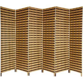 Handmade 6' Wood and Natural Fiber 6-panel Two-tone Room Divider