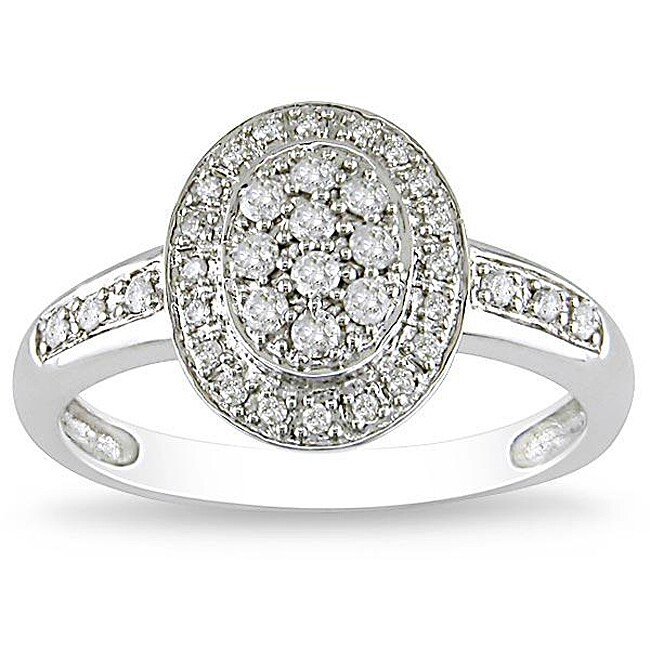 10k White Gold 1/4ct TDW Diamond Fashion Halo Ring (G-H, I2-I3)