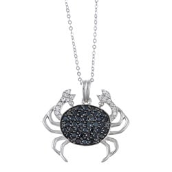 La Preciosa Sterling Silver Black and White Cubic Zirconia Crab Necklace