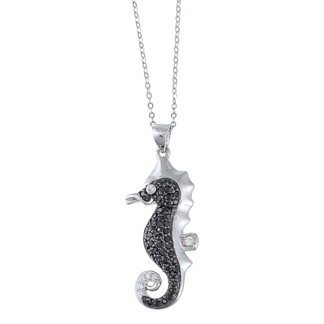 La Preciosa Sterling Silver Black and White Cubic Zirconia Seahorse Pendant