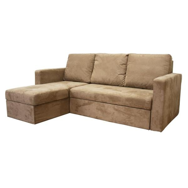 Linden Tan Microfiber Convertible Sectional Sofa Bed