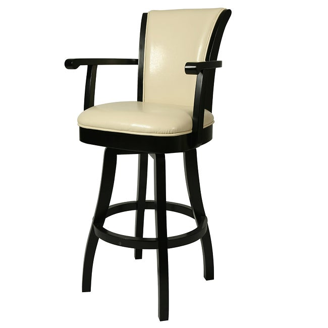 Glenwood 26 Inch Wood Cream Leather Swivel Bar Stool
