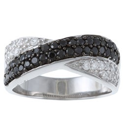 La Preciosa Sterling Silver Black and Clear Cubic Zirconia 'X' Ring