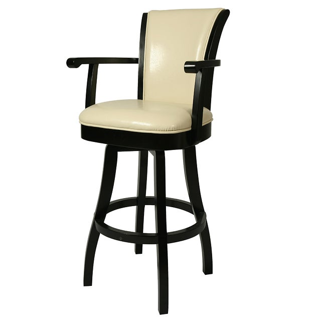 Glenwood 30 inch Wood Cream Leather Swivel Bar Stool