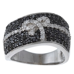 La Preciosa Sterling Silver Black and White Cubic Zirconia Bow Ring