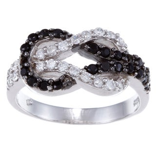 La Preciosa Sterling Silver Black and White CZ Love Knot Ring