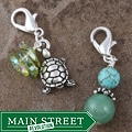 Fashion Forward Pewter Sea Turtle Gemstone Charms (Set of 2)