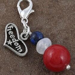 Fashion Forward Pewter Freedom Gemstone Charms (Set of 2)