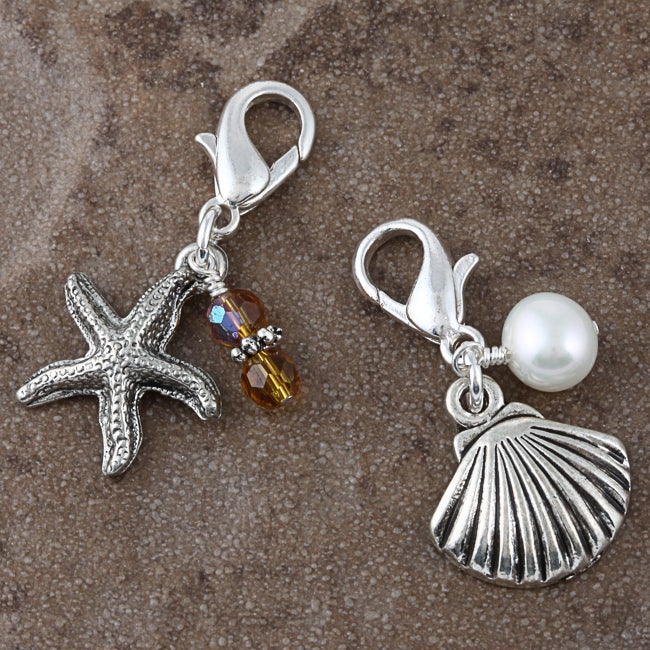 Fashion Forward 'On the Beach' Pearl/ Crystal Charms (7-9 mm)