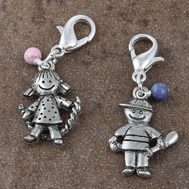 Fashion Forward Pewter Playful Kids Gemstone Charms (Set of 2)