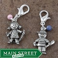 Fashion Forward Pewter Playful Kids Gemstone Charms (Set of 2)