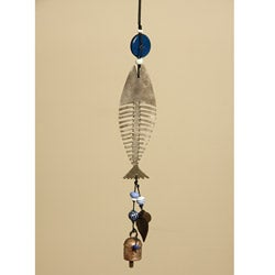 Iron and Glass Fish Skeleton Bell Hanging Art (India)