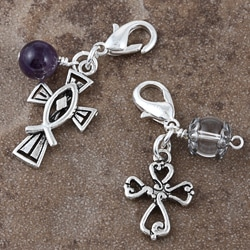 Fashion Forward Pewter Amethyst/ Quartz Cross Charms (Set of 2)