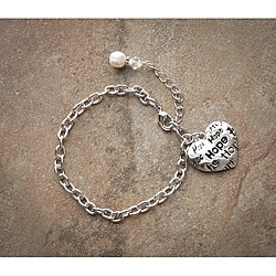 Fashion Forward Rhodiumplated 'Hope' Pearl Charm Bracelet (7-9 mm)