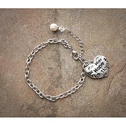 Fashion Forward Rhodiumplated 'Hope' Pearl Charm Bracelet (7-9 mm)