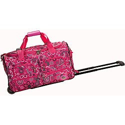 Rockland Deluxe 22-inch Pink Bandana Carry On Rolling Upright Duffel Bag