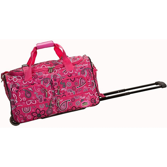 Rockland Deluxe Pink Bandana 22-inch Carry On Rolling Upright Duffel Bag