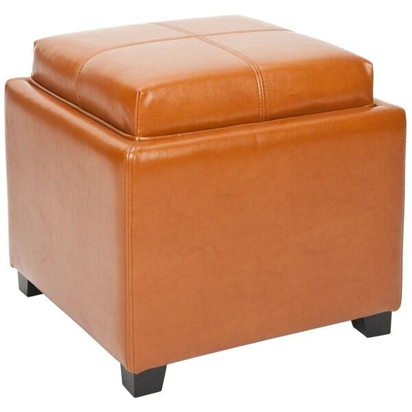 Safavieh Harrison Storage Saddle Leather Tray Ottoman