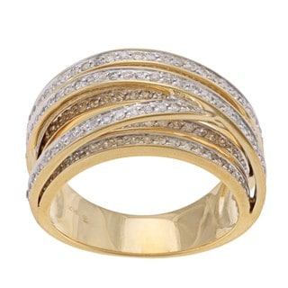 Beverly Hills Charm 14k Yellow Gold 1ct TDW Diamond Cross-over Ring (H-I, I2)