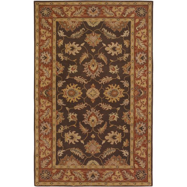 Hand-tufted Coliseum Brown Floral Border Wool Rug (4' x 6')
