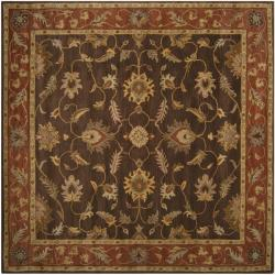 Hand-tufted Coliseum Brown Floral Border Wool Rug (6' Square)