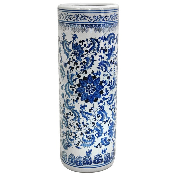 Porcelain 24-inch Blue and White Floral Umbrella Stand (China)