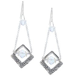 Sterling Silver Elegant Crystal Dangle Earrings