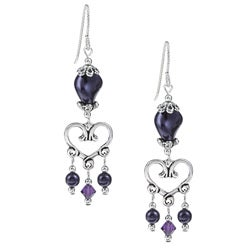 Argentium Silver Dark Purple Heart Crystal Earrings
