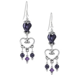 MSDjCASANOVA Argentium Silver Dark Purple Heart Crystal Earrings