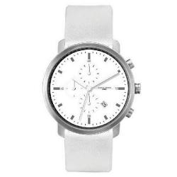 Jorg Gray Men's White Leather Strap Watch